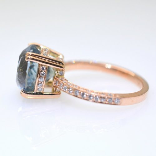 2089 6.69ct N 008 500x500 - Turquoise blue Sapphire round 6.69 carat unheated gold ring and diamonds
