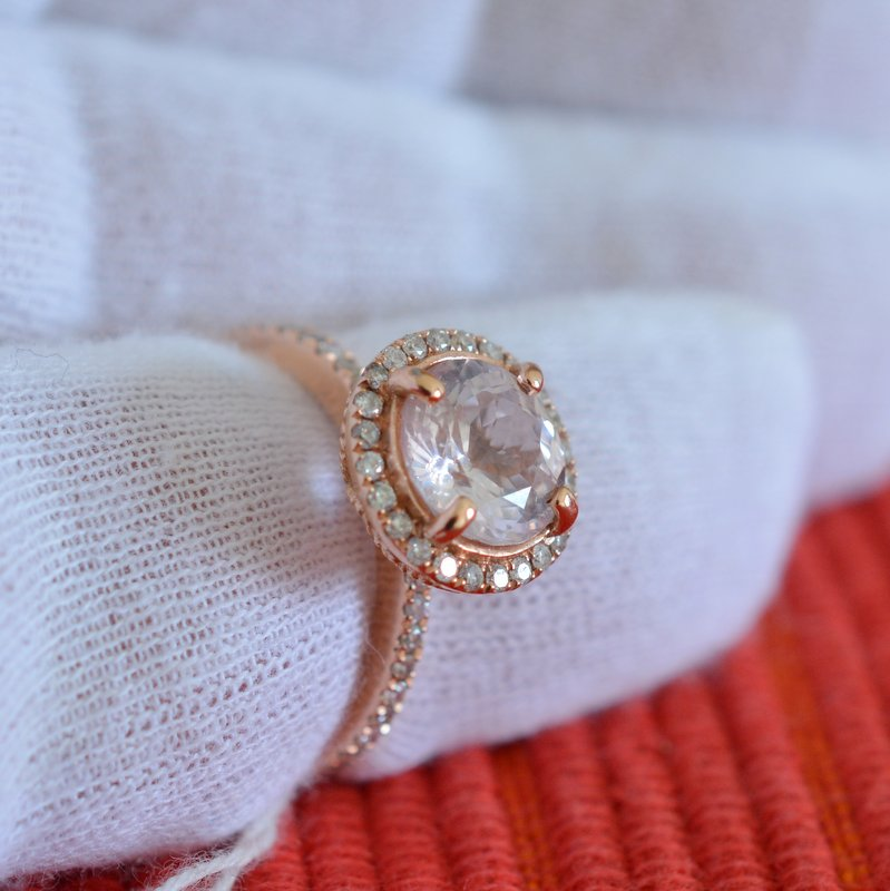 round champagne sapphire rose gold engagement ring