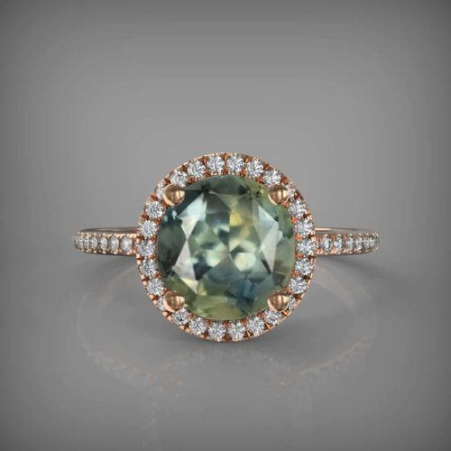 freen sapphire gold rinf