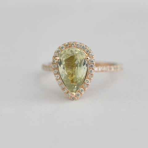 rings 2.2mm diamonds 13 002 - 2.45 CT Untreated light green sapphire in a rose gold diamonds ring ***JOAN-2099