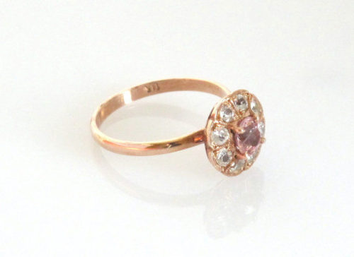 il 570xN.420390072 o28k 500x364 - Rose gold ring,natural peach Sapphire ring Handmade with white sapphires Sku - *** P-048