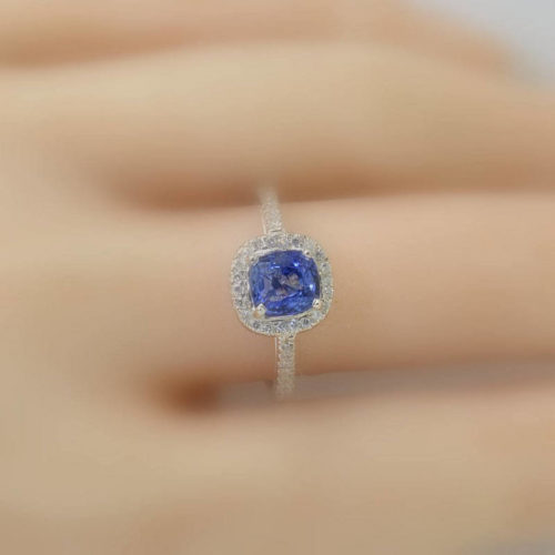 unheated natural cushion blue sapphire Silver engagement ring
