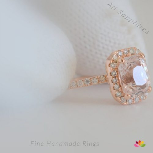 peach champagne sapphire rose gold ring