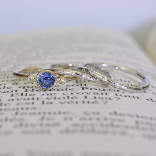 a4 500x500 - Reserved for Ethan, handmade pair of twisted band, 14K Gold white gold with sapphires